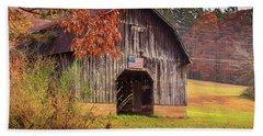 Rustic Barn In Autumn Beach Sheet