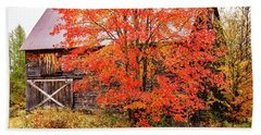 Beach Towel featuring the photograph Rustic Barn In Fall Colors by Jeff Folger