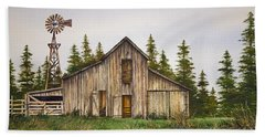 Beach Towel featuring the painting Rustic Barn by James Williamson