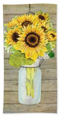 Rustic Country Sunflowers In Mason Jar Beach Sheet by Audrey Jeanne Roberts