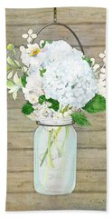 Rustic Country White Hydrangea N Matillija Poppy Mason Jar Bouquet On Wooden Fence Beach Towel