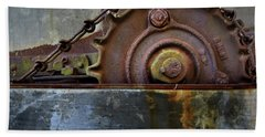 Beach Towel featuring the photograph Rustic Gear And Chain by David and Carol Kelly