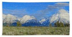 Rustic Grand Teton Range On Wood Beach Sheet by Dan Sproul