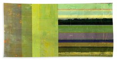 Beach Sheet featuring the painting Rustic Green Flag With Stripes by Michelle Calkins