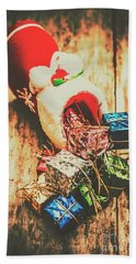 Rustic Red Xmas Stocking Beach Towel