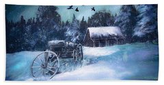 Rustic Winter Barn  Beach Towel by Michele Carter