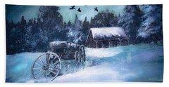 Rustic Winter Barn  Beach Sheet