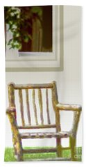 Rustic Wooden Rocking Chair Beach Towel
