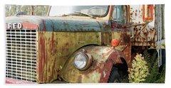 Rusty And Crusty Reo Truck Beach Sheet