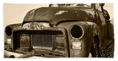 Rusty But Trusty Old Gmc Pickup Truck - Sepia Beach Towel by Gordon Dean II