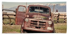 Beach Towel featuring the photograph Rusty Old Dodge by Ely Arsha