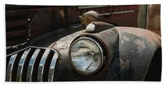 Beach Towel featuring the photograph Rusty Old Headlight  by Kim Hojnacki