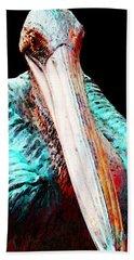 Rusty - Pelican Art Painting By Sharon Cummings Beach Sheet by Sharon Cummings
