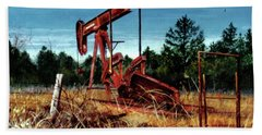 Rusty Pump Jack Beach Towel