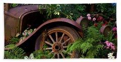 Rusty Truck In The Garden Beach Towel