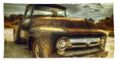 Rusty Truck Beach Towel by Mal Bray