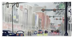 Beach Towel featuring the painting S. Main Street In Ann Arbor Michigan by Yoshiko Mishina