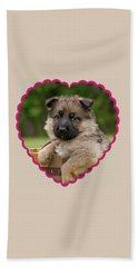 Beach Towel featuring the photograph Sable Puppy In Heart by Sandy Keeton