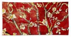 Sac Rouge Avec Fleurs D'almandiers Beach Sheet by Belinda Low