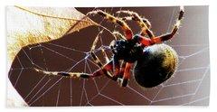 Sac Spider Catches A Leaf Beach Towel