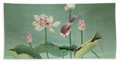 Sacred Lotus Flower Beach Sheet