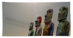 Beach Towel featuring the digital art Sacred Places - Easter Island Rapa Nui Moai Figures by Serge Averbukh