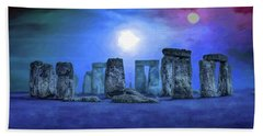 Beach Towel featuring the digital art Sacred Places - Stonehenge by Serge Averbukh