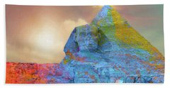 Beach Towel featuring the digital art Sacred Places - The Great Sphinx Of Giza In Front Of The Great Pyramid by Serge Averbukh