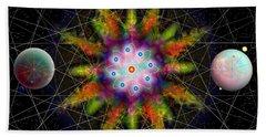 Sacred Planetary Geometry - Dark Red Atom Beach Towel by Iowan Stone-Flowers