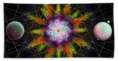 Beach Sheet featuring the digital art Sacred Planetary Geometry - Dark Red Atom by Iowan Stone-Flowers