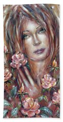 Beach Towel featuring the painting Sad Venus In A Rose Garden 060609 by Selena Boron