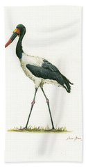 Saddle Billed Stork Beach Towel