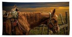 Saddle Horse On The Prairie Beach Sheet