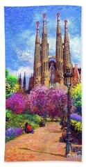 Sagrada Familia And Park,barcelona Beach Towel by Jane Small