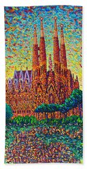 Sagrada Familia Barcelona Modern Impressionist Palette Knife Oil Painting By Ana Maria Edulescu Beach Towel by Ana Maria Edulescu
