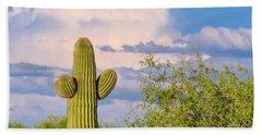 Saguaro And Mesquite In Monsoon Season Beach Towel