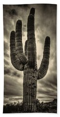 Saguaro And Storm Clouds Beach Towel