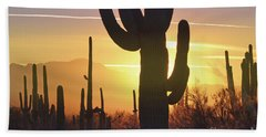 Saguaro Cactus Golden Sunset Mountain Beach Towel by Andrea Hazel Ihlefeld