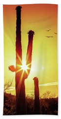 Saguaro Cactus Silhouette At Sunrise Beach Sheet