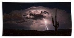 Beach Towel featuring the photograph Saguaro Lit Up By The Lightning  by Saija Lehtonen