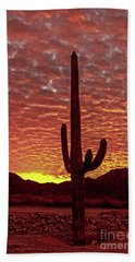 Saguaro Sunrise Beach Towel by Robert Bales