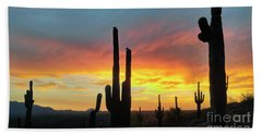 Beach Sheet featuring the photograph Saguaro Sunset by Anthony Citro