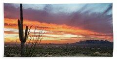 Saguaro Sunset At Lost Dutchman 2 Beach Sheet by Greg Nyquist