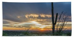 Saguaro Sunset At Lost Dutchman Beach Towel by Greg Nyquist