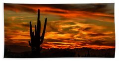 Beach Towel featuring the photograph Saguaro Sunset H51 by Mark Myhaver