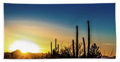 Beach Towel featuring the photograph Saguaro Sunset by Jim DeLillo