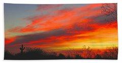 Saguaro Winter Sunrise Beach Towel