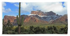 Saguaros Cholla Superstition Mountains Beach Sheet by Tom Janca