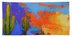 Saguaros Land Sunset By Elise Palmigiani - Square Version Beach Towel