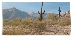 Saguaros On A Hillside Beach Towel